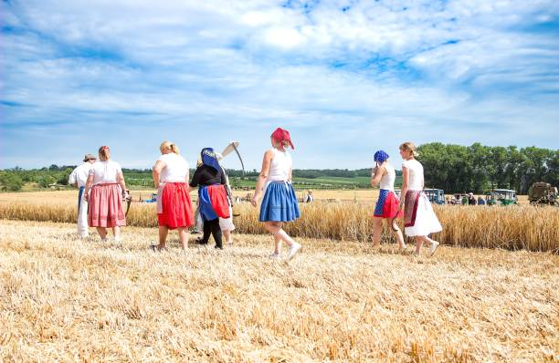 women in  wintage clothes on the field in harwest time stock photo