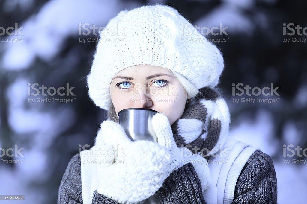 Women is drinking hot tea royalty-free stock photo