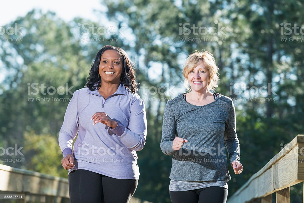 Women jogging stock photo