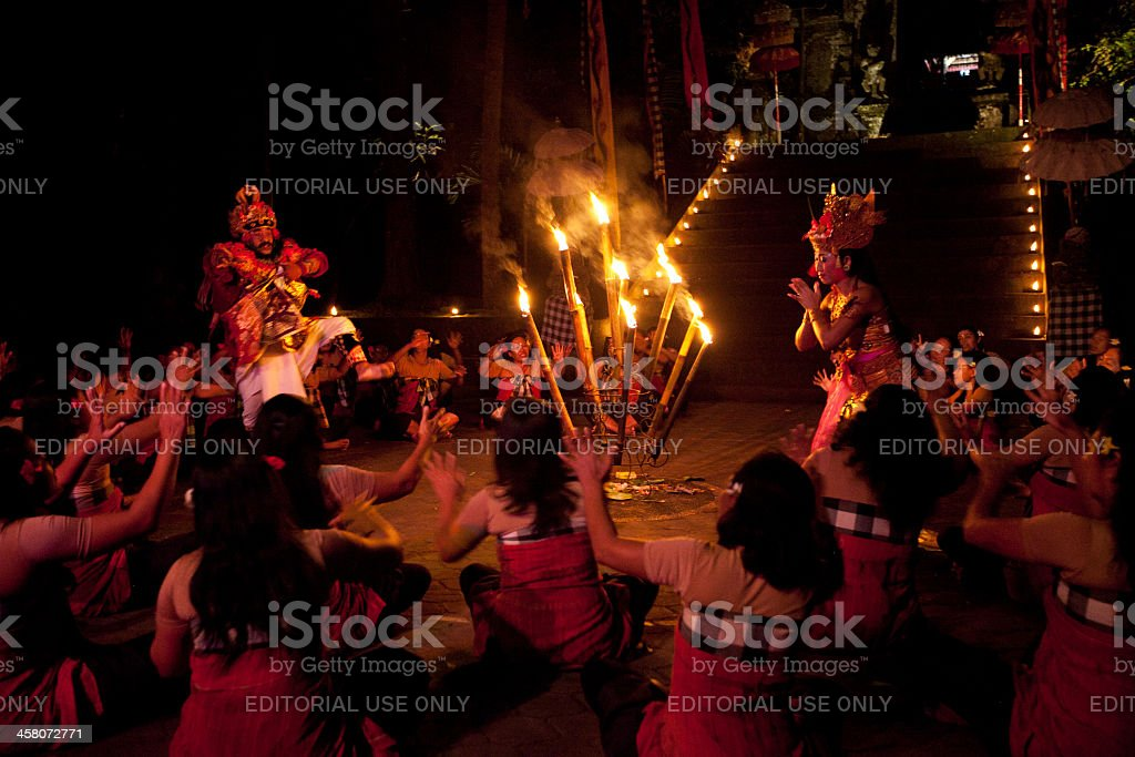 Women Kecak Fire Dance stock photo