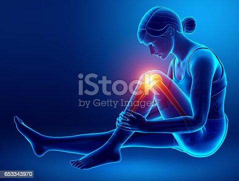 istock Women Knee joint pain 653343970