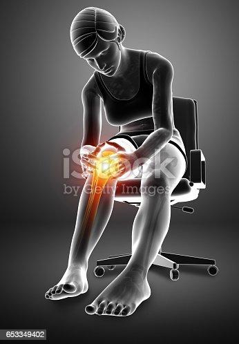 istock Women Knee joint pain 653349402