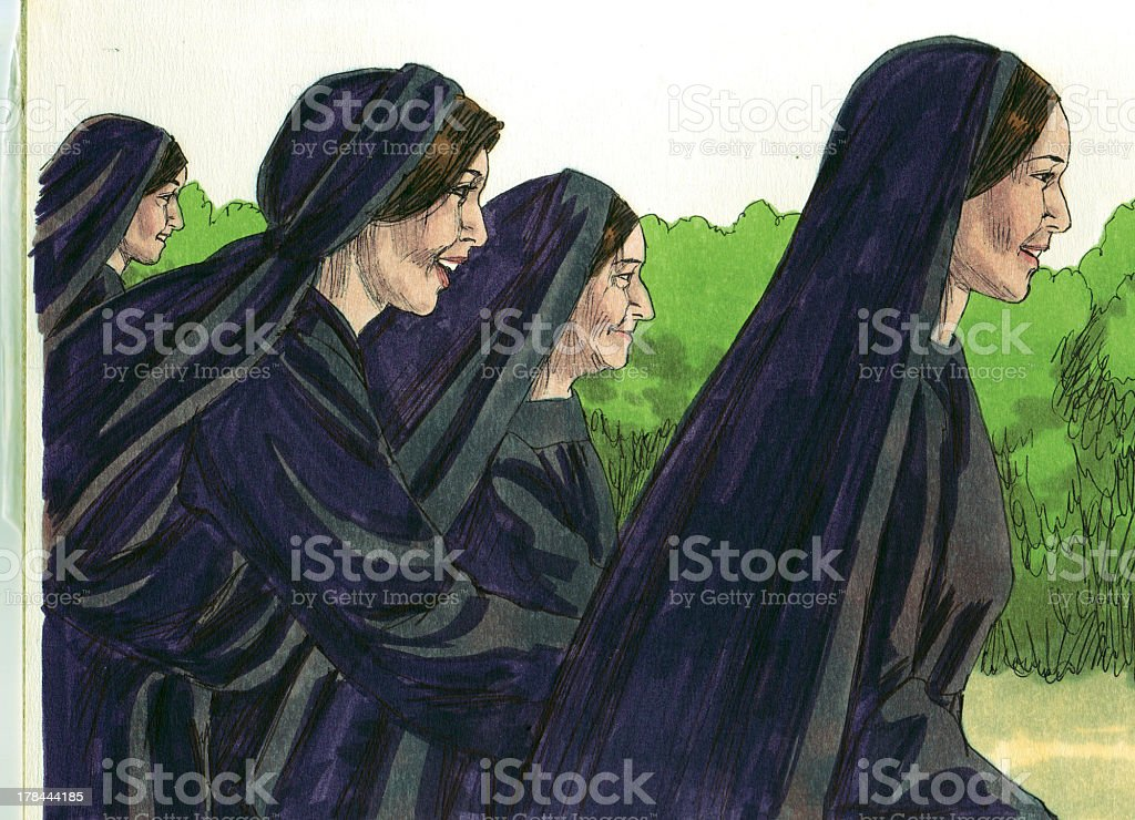 Women Leave Tomb to Find Disciples stock photo
