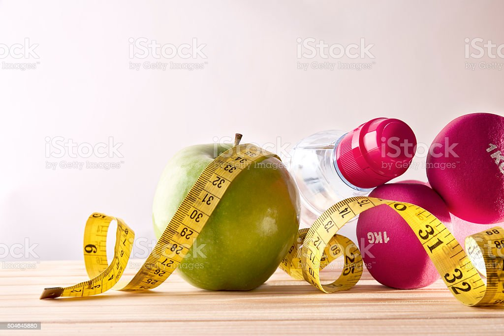 Women lifestyle health diet and sports isolated background front stock photo