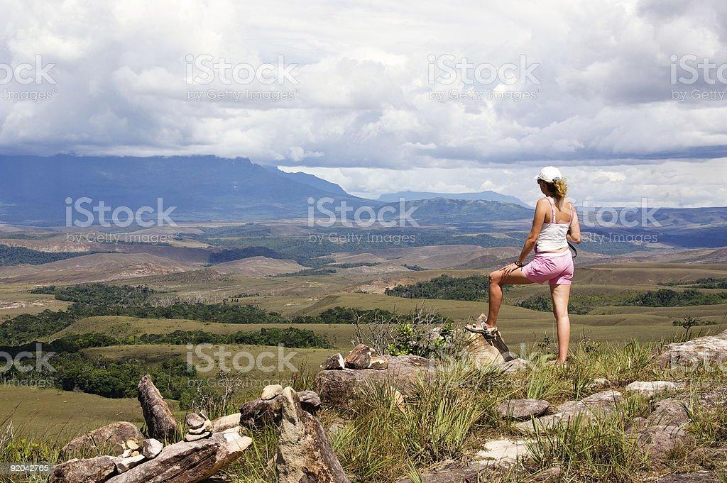 Women looking at  tepui in Venezuela royalty-free stock photo