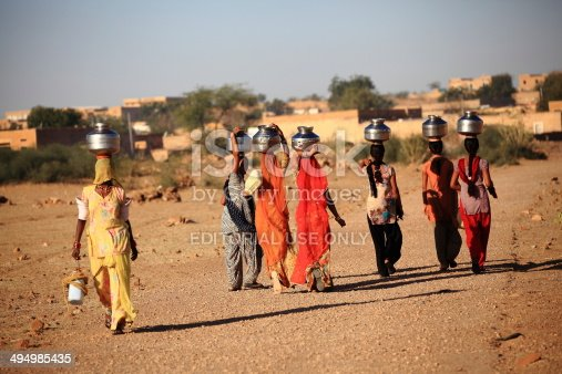 istock Women lugging a water pot,RAJASTHAN, INDIA 494985435