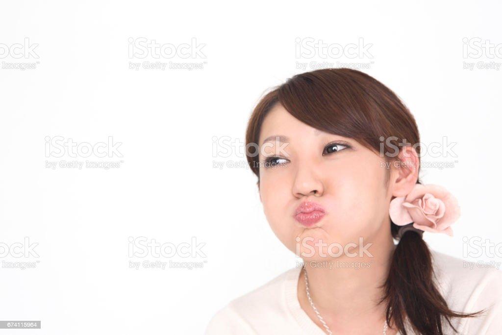 Women make a lip royalty-free stock photo
