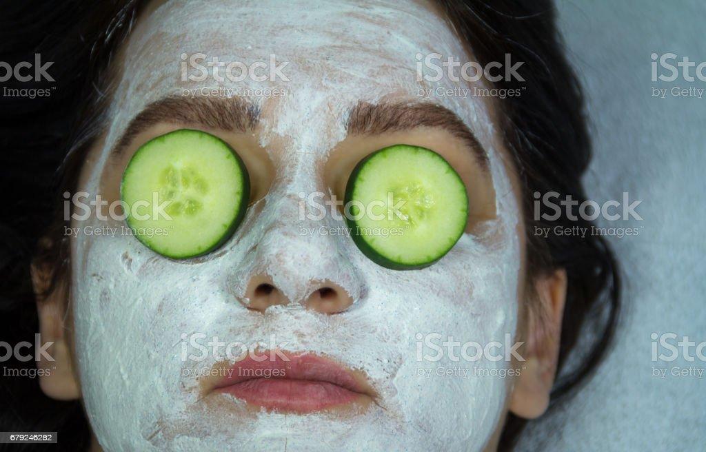 Women making facial mask photo libre de droits