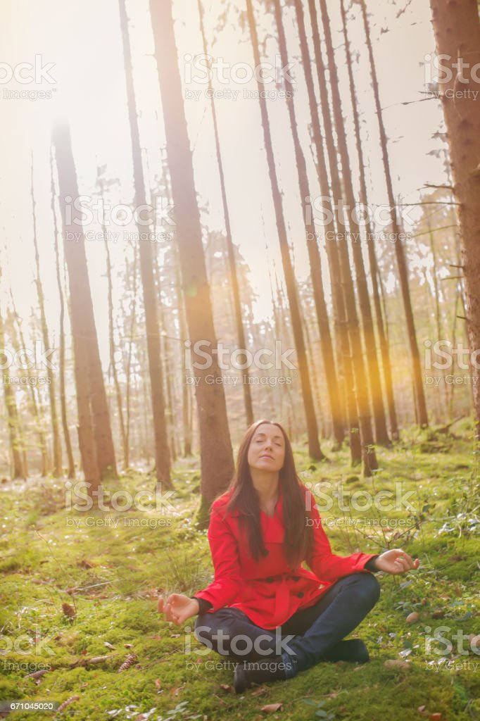 Women meditates stock photo