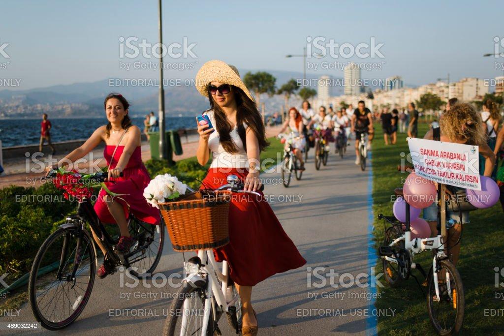 Women Meeting at Alsancak-Izmir, Turkey stock photo