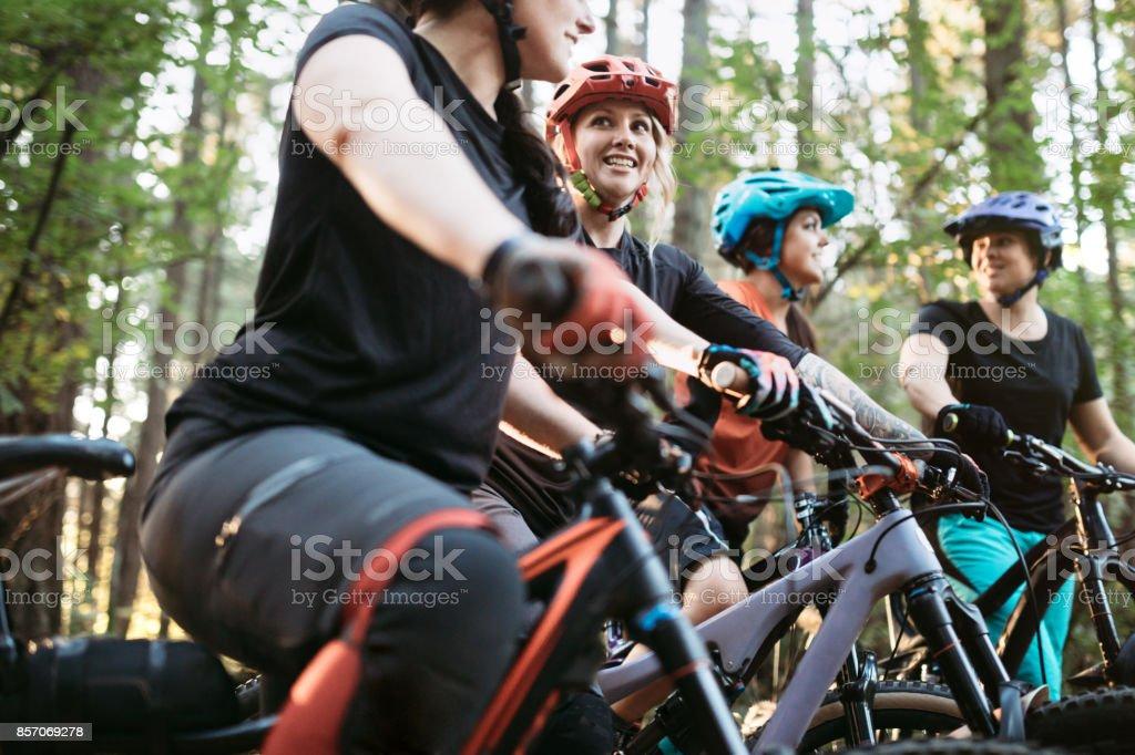 Women Mountain Biking Team stock photo
