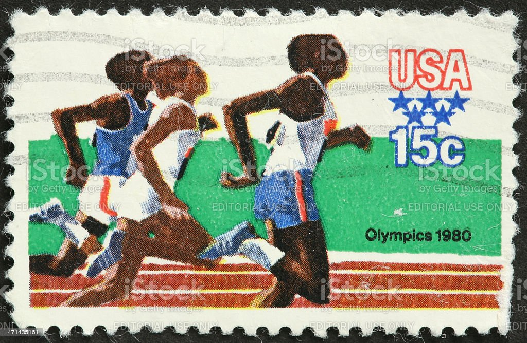 women Olympic runners, 1980, Los Angeles stock photo