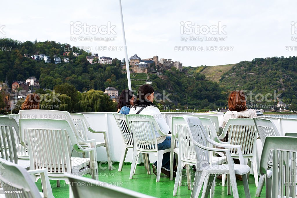 Women on deck of tourboat stock photo