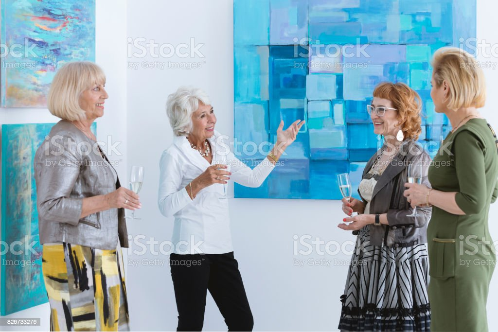 Women on exhibition stock photo