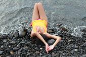 istock Women on the black stones beach 176995781