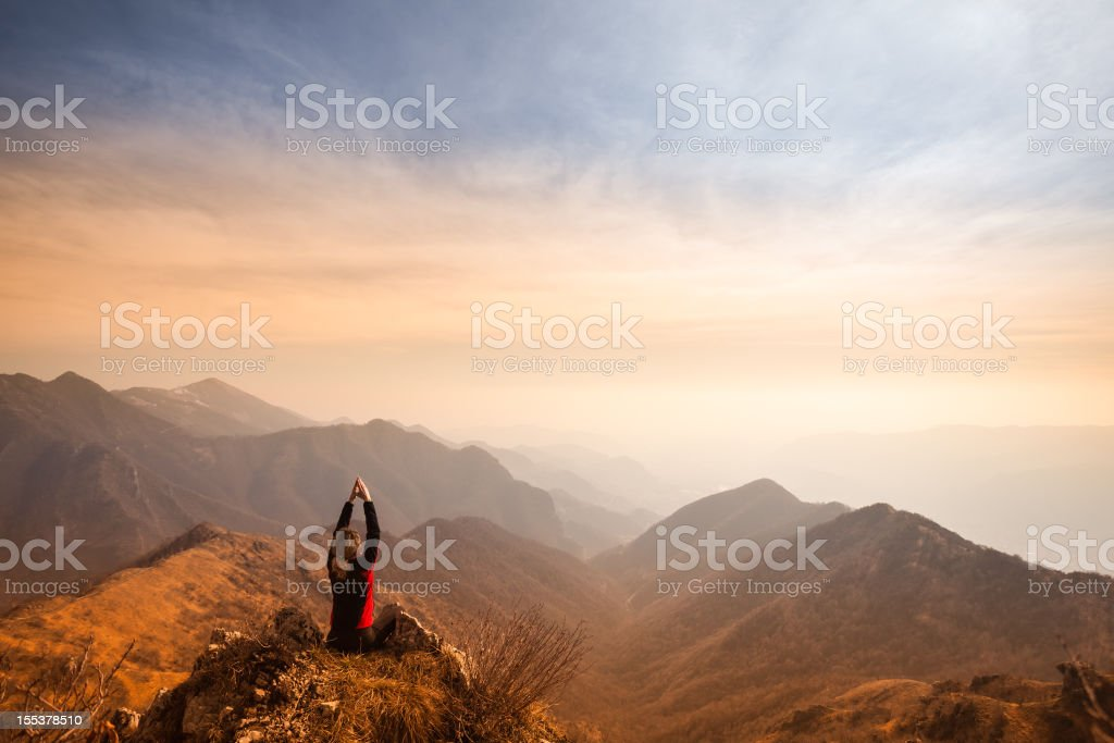 Women on top of the Mountain royalty-free stock photo