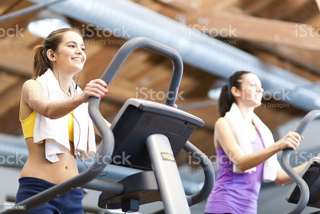 Women on treadmill royalty-free stock photo