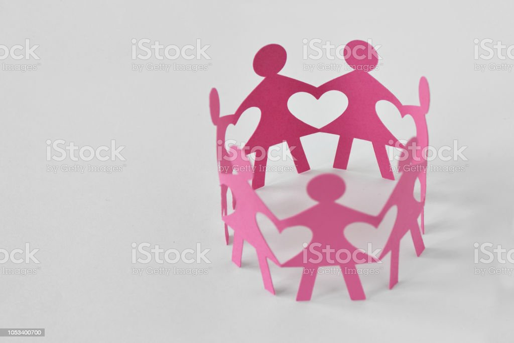 Women Paper Chain On White Background Love And Unity Concept Stock Photo -  Download Image Now