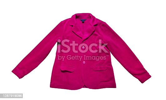Women pink Suit Jacket closeup, pink plush jacket isolated on white background. Pink buttoned suit isolated over white
