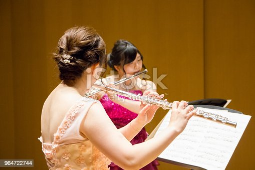 Women Playing Flute In A Concert Stock Photo & More Pictures of 20-29 Years