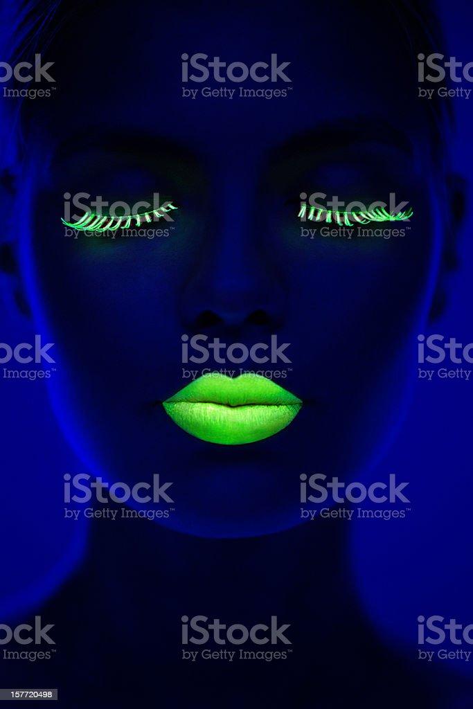 Women Portrait in Neon Light stock photo