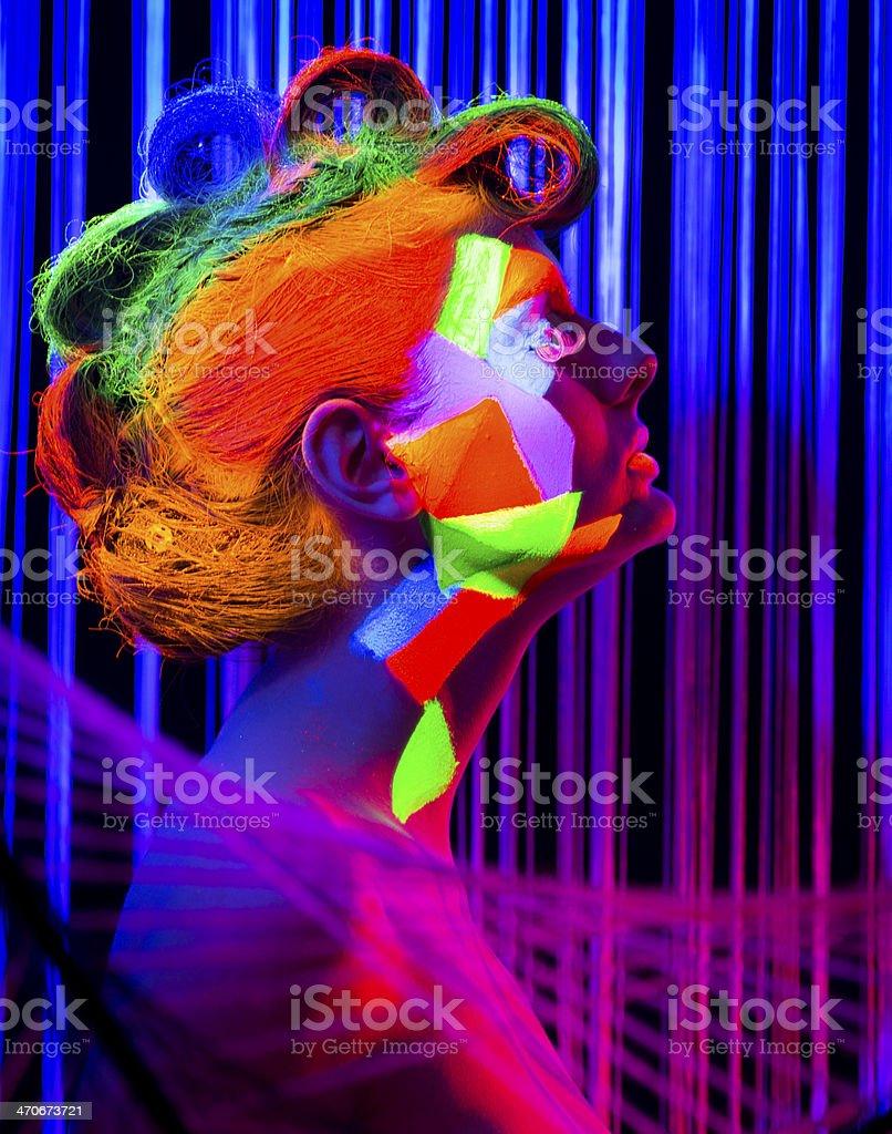 Women Portrait in Ultraviolet Light stock photo