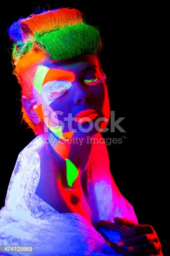 1071416330 istock photo Women Portrait in Ultraviolet Light 474125669