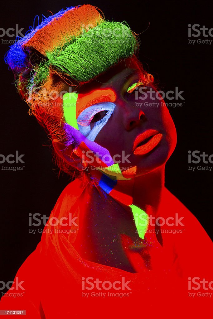Women Portrait in Ultraviolet Light royalty-free stock photo