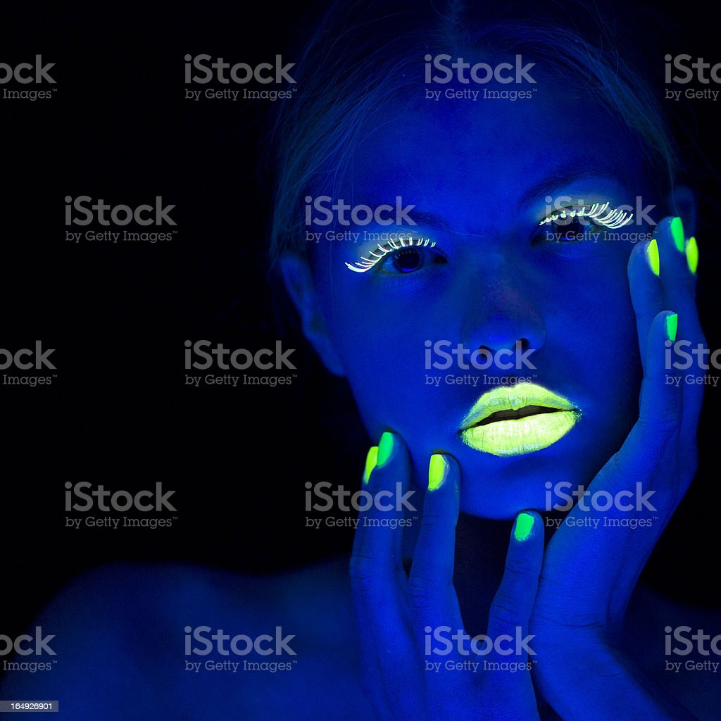 Women Portrait with Lime Green Fingernails in Neon Light stock photo
