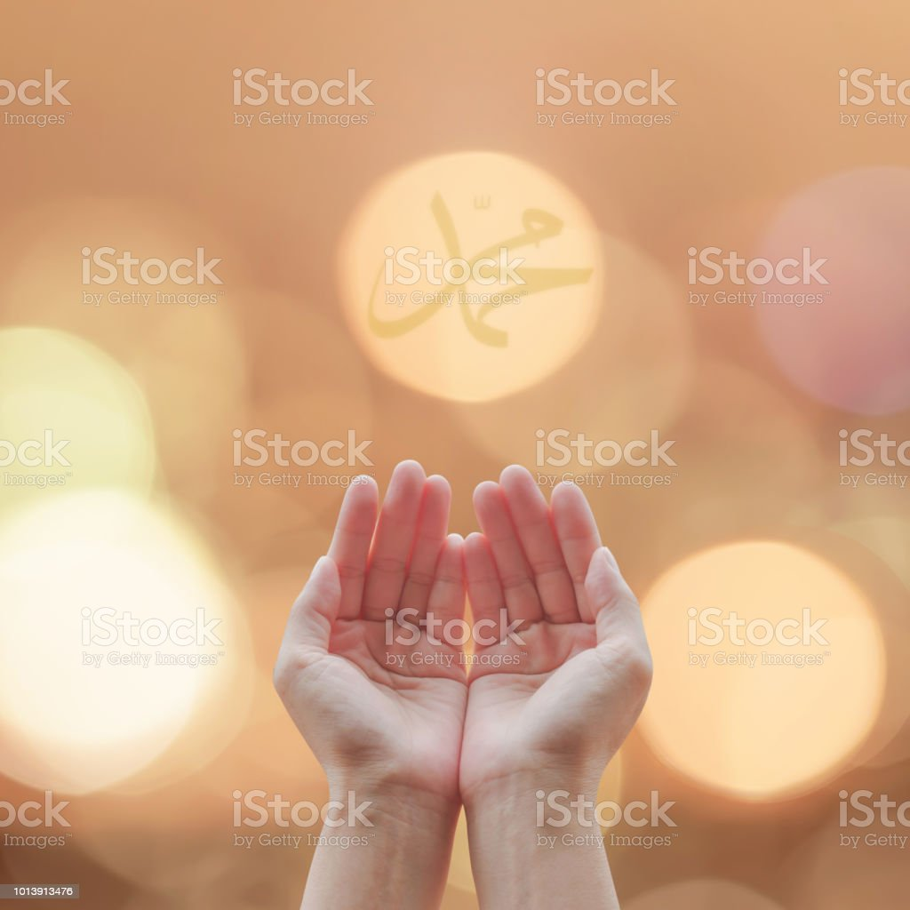 Women prayer hand praying for peace and for holy spirit week, world religion day, and eid mubarak concept stock photo