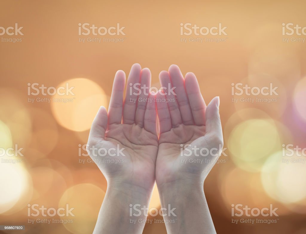 Women prayer hand praying for peace and for holy spirit week, world religion day concept stock photo