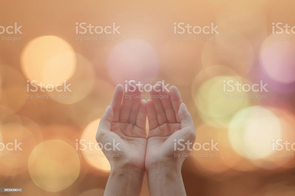 Women prayer hand praying for peace and for holy spirit week, world religion day, and eid mubarak concept - Royalty-free Abstract Stock Photo