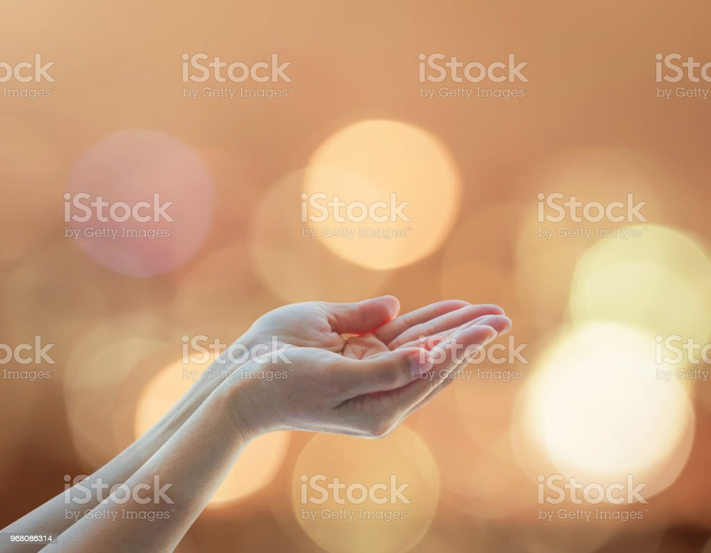 Women prayer hand praying for peace and for holy spirit week, world...