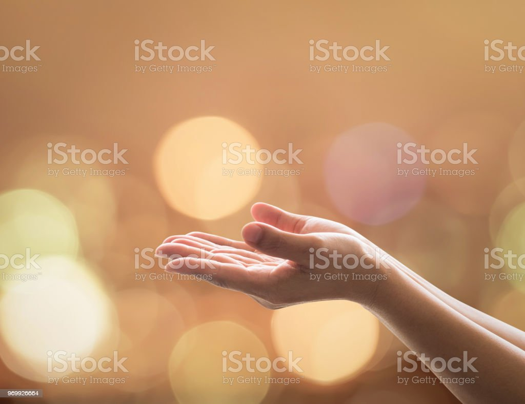 Women prayer hand praying for spiritual support, donation, peace and...