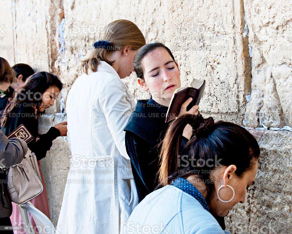 Women Praying at Jerusalem's Wailing Wall stock photo