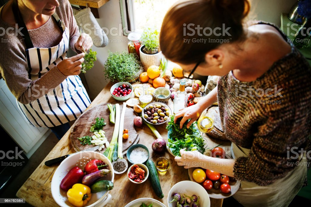 Women preparing a dinner in the kitchen royalty-free stock photo
