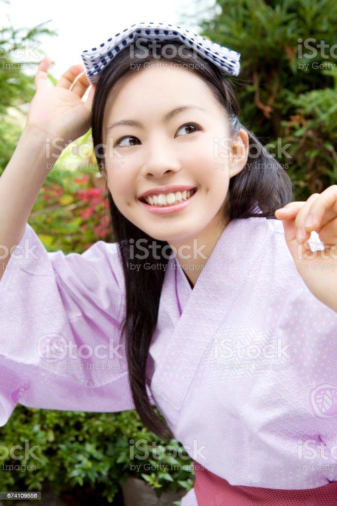 Women put on towel head royalty-free stock photo