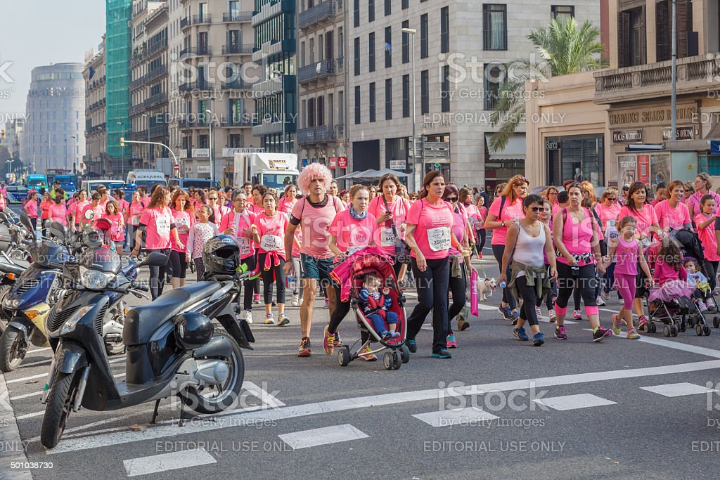 Women race against breast cancer stock photo
