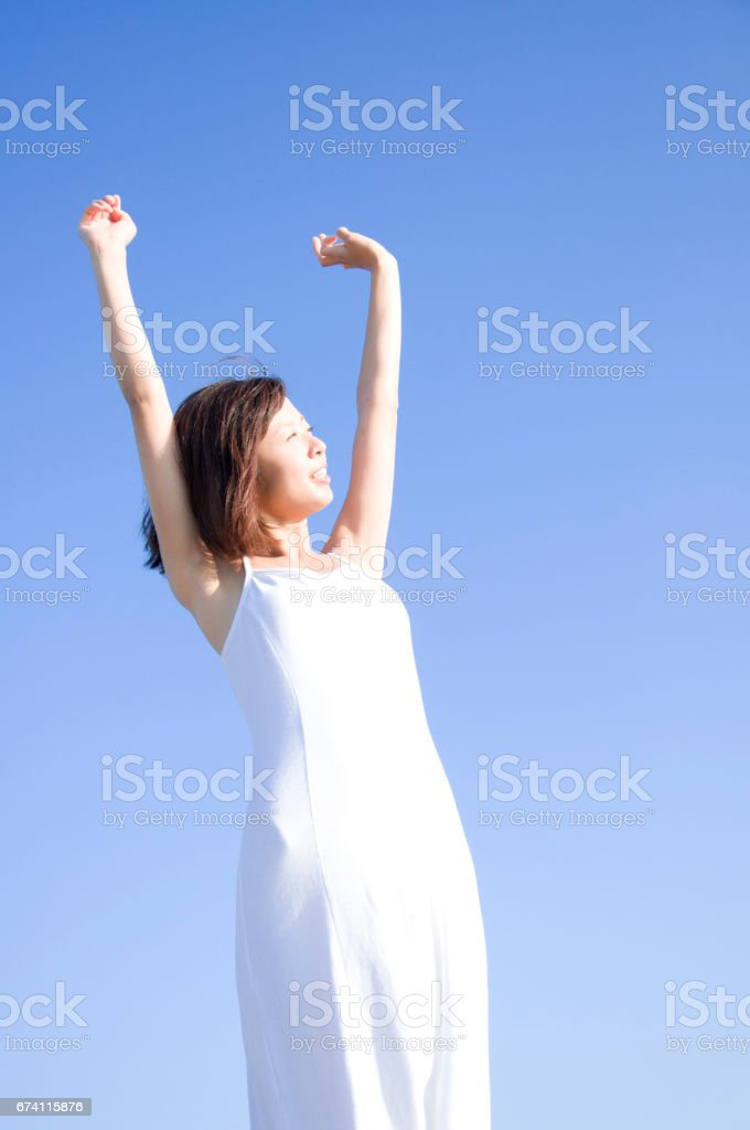 Women reach out your hands royalty-free stock photo