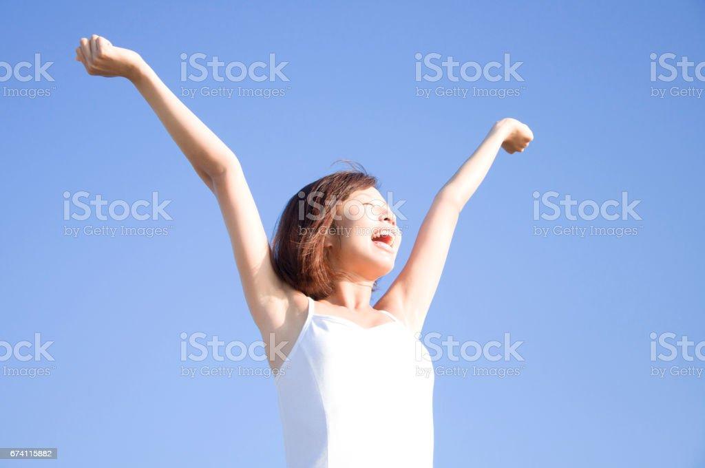 婦女伸出你的手 免版稅 stock photo