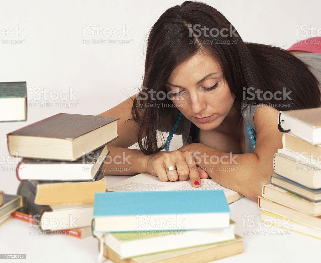 Women reads a book stock photo