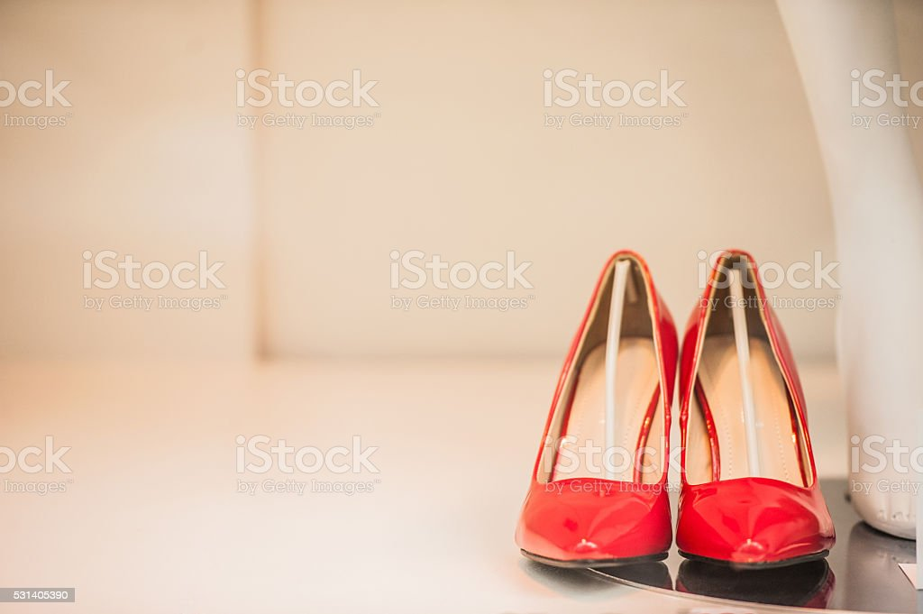 Women red shoes stock photo