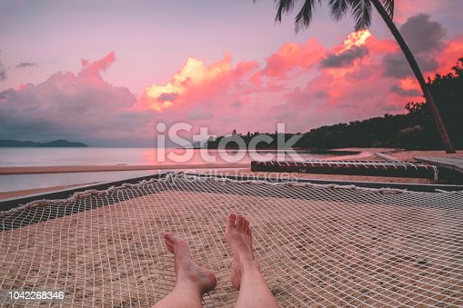 910785546 istock photo Women relax and Beautiful sunset on Beach Thailand ,Summer vacation 1042268346