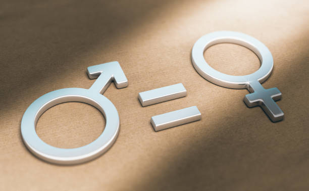 Women Rights, Sexual or Gender Equality 3d illustration of male and female symbols with equal sign over paper background. Concept of women rights and gender equality. women's rights stock pictures, royalty-free photos & images