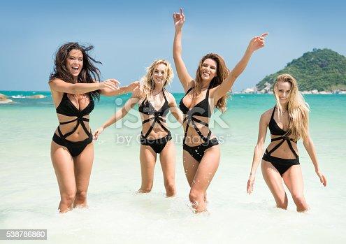 istock Women running, splashing in the Ocean on Vacation 538786860