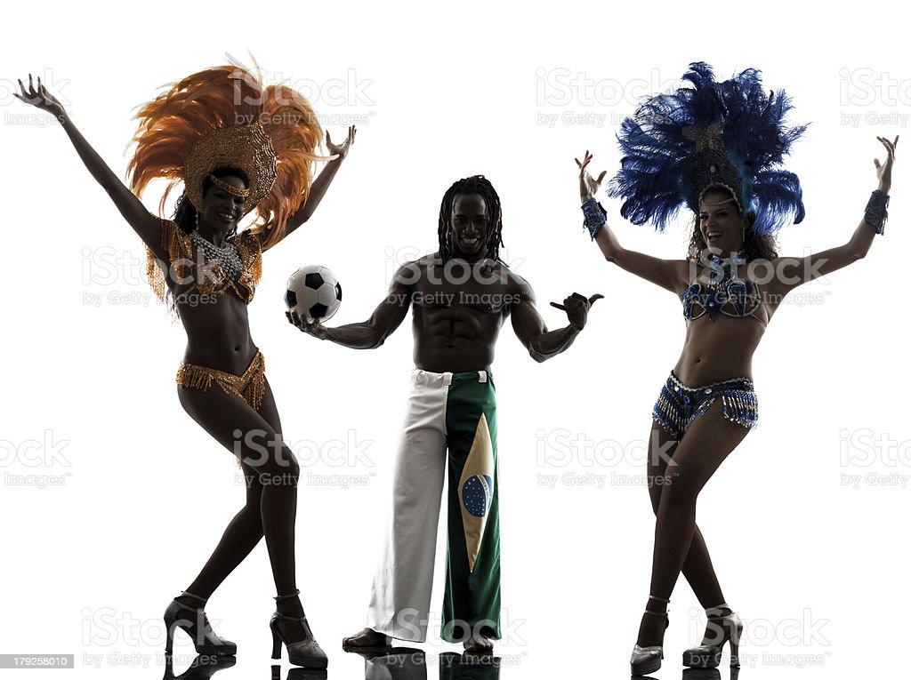 women samba dancer and soccer player man silhouette royalty-free stock photo