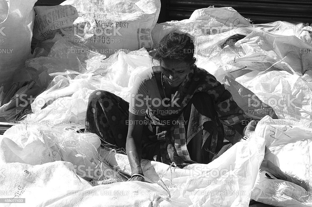 Women segragating plastic waste royalty-free stock photo