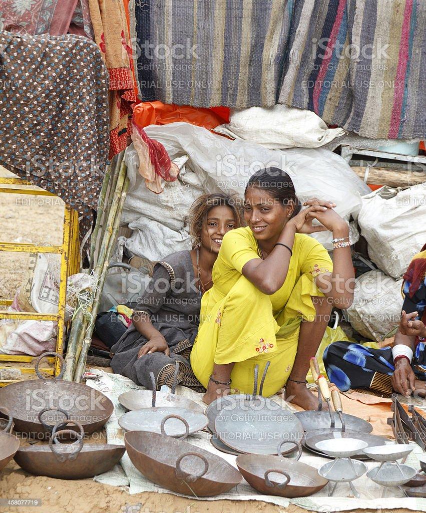 Women Selling in Market Pushkar Rajasthan India stock photo