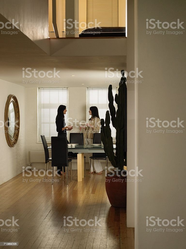 Women setting the table royalty-free stock photo