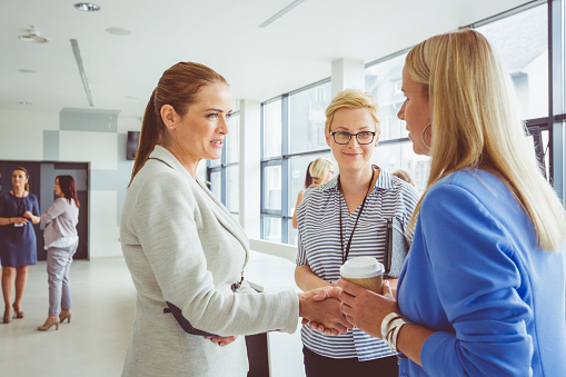 Women Shaking Hands During Conference Stock Photo - Download Image Now